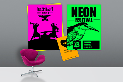 Posters in neon colours